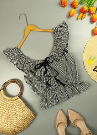 Блуза топ хлопковый клетчатый с рюшами от zara 12р.