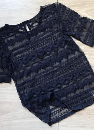 Темно-синяя футболка сетка блуза топ кружевной ажурный