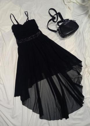 Шикарное  нарядное чёрное платье сарафан!