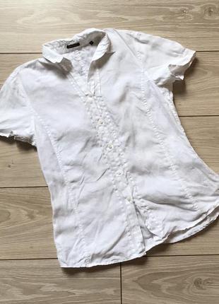 Белая льняная рубашка с коротким рукавом лён 100%