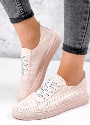 Розовые бежевые классические кроссовки, кеды, мокасины с перфорацией, 36-41