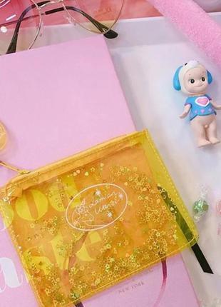 Желтый кошелёк мини косметичка единорог