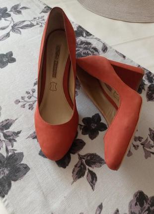 Туфли ,натуральная замша ,теракот