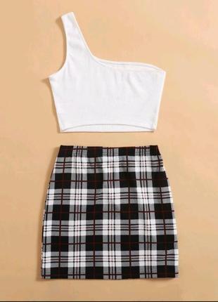 New!! новый комплект юбка в клетку и топ на одно плечо белый