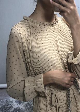 Плиссированное платье миди,сукня міді квітковий принт,цветочный принт,плиссировка