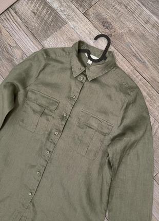 Льняная рубашка хаки зеленая xs-s лен h&m натуральная