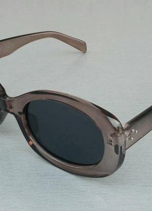 Celine очки женские солнцезащитные модные узкие овальные бежево коричневые