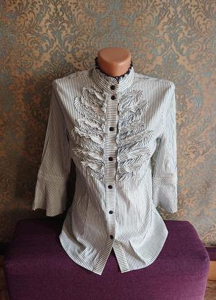 Скидки 🏷️ акция 🔥 распродажа 🔥 женская блуза рубашка с рюшами блузка блузочка рубашка р.s/m