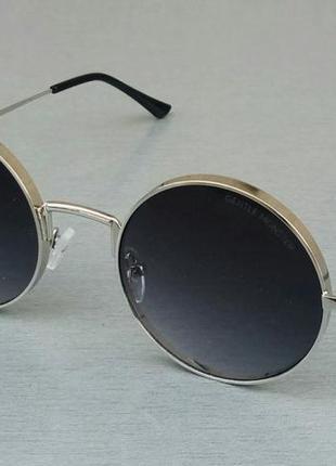 Gentle monster очки женские солнцезащитные круглые темно серые в серебристом металле
