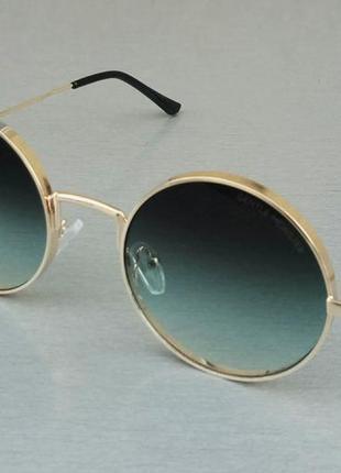 Gentle monster очки женские солнцезащитные круглые сине бирюзовый градиент в золотом металле