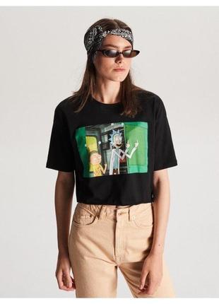 Черный кроп топ короткая футболка rick&morty р.s