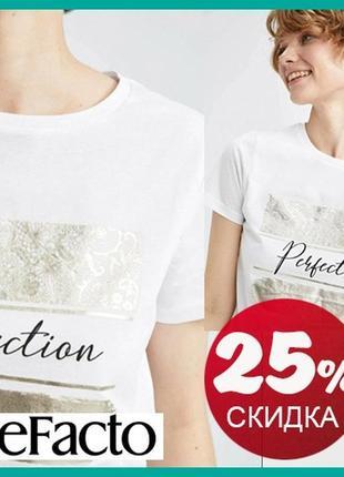 Белая женская футболка defacto / дефакто с надписью perfection и ажурным принтом