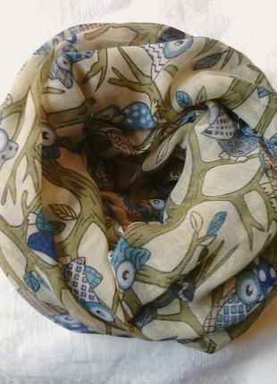 Прикольный снуд, хомут, круговой шарф в совушки.