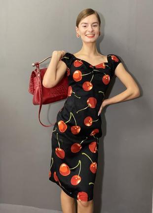 Винтажное платье квадратный вырез рукава-фонарики принт вишенки