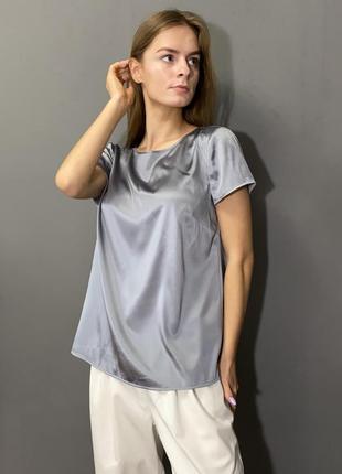 Натуральный шелк винтажная блуза/футболка