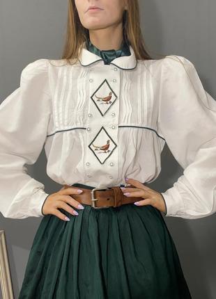 Винтажная австрийская блуза кантри вышивка фазаны vintage retro