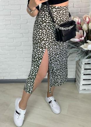 Элегантная летняя юбка с вырезом на ноге, черная ,оливковая