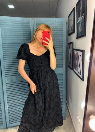 Платье миди с рельефным узором от zara