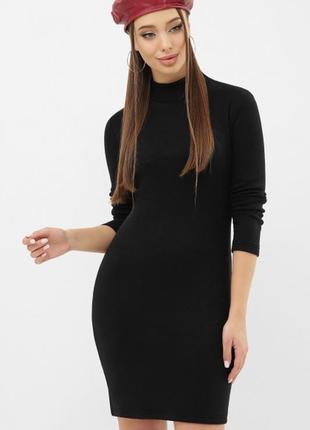 Платье-гольф черное чёрное цвета короткое миди длинный рукав гольф