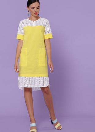 Желтое льняное платье ажурное до колен миди легка сукня до колін міді ажурне