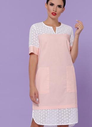Персиковое льняное платье ажурное до колен миди легка сукня до колін міді ажурне