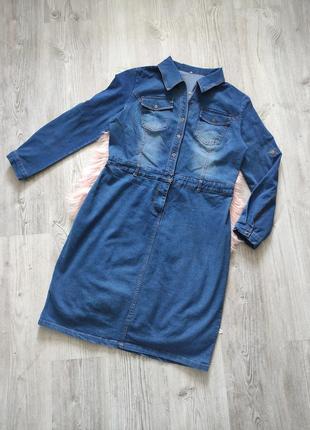 Джинсовое миди платье-рубашка