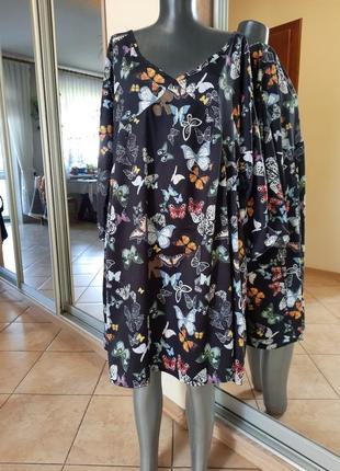 Симпатичное в бабочки платье 👗большого размера