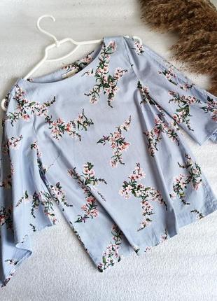 ✨неймовірна , трендова, натуральна блуза у смужку , із квітами✨