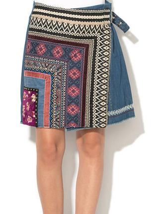 Юбка спідниця мини а-силуэт принт вставка эко кожа с молниями качество desigual