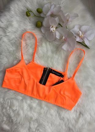 Розпродаж!!! топ кроп сатиновий яскраво оранжевий