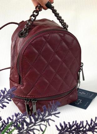 Рюкзачок кожаный стёганый бордовый сумка кроссбоди италия шкіряний рюкзак італія