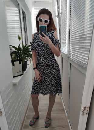 Сарафан платье плаття мини креп  с открытыми плечами флористический принт