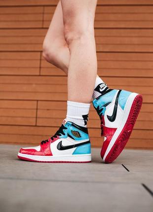Nike air jordan 1 hi og fearless высокие лакированные женские кроссовки найк красные/синие жіночі високі кросівки червоні/сині