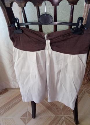 Бежевая базовая льняная юбка с коричневой вставкой. прямая натуральная бежевая юбка