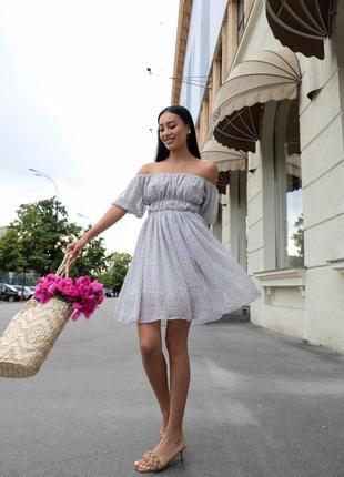 Шифоновое платье в цветочек, легкое платье на резинке літня жіеоча сукня