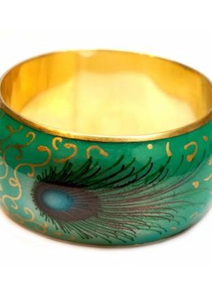 Зеленый браслет павлинье перо с латунью