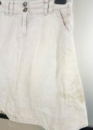 Бежевая льняная мини юбка. натуральная короткая юбка со шнуровкой с-м