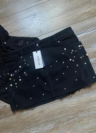 Юбка джинсовая жемчуг и футболка