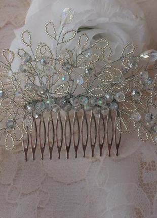 Гребень для волос, свадебное украшение, свадебная веточка, ,белая свадебная веточка