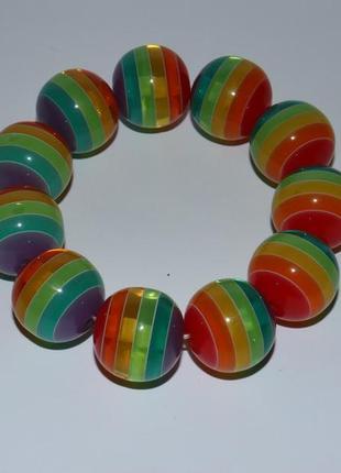 Яркий массивный браслет разноцветные бусины вес 52,1 грамм винтаж