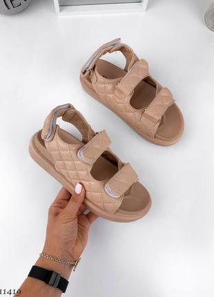 Босоножки сандали на липучках стёганные