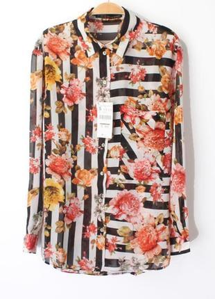 Новая рубашка в цветочный принт zara