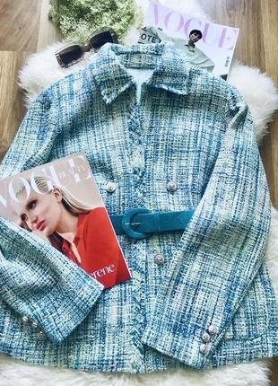 Бірюзовий піджак в стилі coco chanel