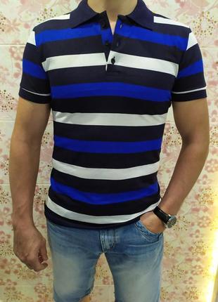 Мужская футболка поло, поло трикотаж, полосатая футболка поло, тенниска р-р 48-56