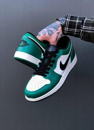 Мужские кроссовки nike air jordan 1 retro low green/white