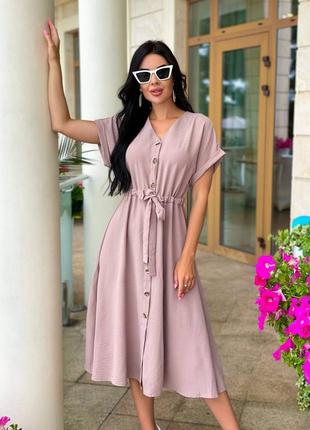 Бежевое летнее женское платье миди, однотонное, цветкофейный