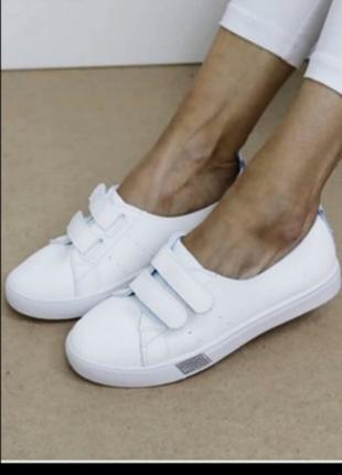 Кеды на липучках белые