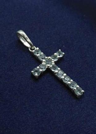 Крестик серебро 925 с цирконами имп 30061