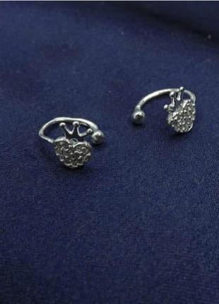 Кафф серебро 925 каффа сердце корона имп 20467