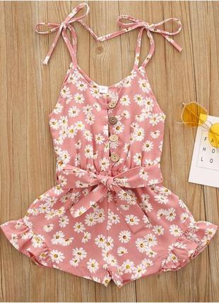 Літній ромпер для дівчинки рожевого кольору